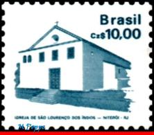 Ref. BR-2068 BRAZIL 1987 ARCHITECTURE, HISTORIC & ART HERITAGE,, ST.LAWRENCE OF INDIANS CHURCH, MNH 1V Sc# 2068 - Brésil