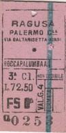 Biglietto Treno -   Ragusa - Palermo (Fascetto) - Railway