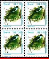 Ref. BR-2490-Q BRAZIL 1997 BIRDS, TYRANNUS SAVANA, FAUNA,, MI# 2775, BLOCK MNH 4V Sc# 2490 - Songbirds & Tree Dwellers