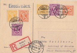 AM-Post R-Karte Mif Minr.2x 4, 2x 5, 2x 7 Berlin 17.9.45 Gel. Nach Radebeul - Bizone