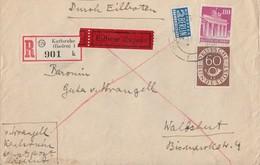 Bauten R-Eilbote-Brief Mif Minr.94eg Bund 135 Karlsruhe Gel. Nach Waldshut - Bizone