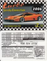 CANADA - Car, Turbo 2006, MCI Prepaid Card $2.50(416-848-6890, White Reverse), Used - Canada