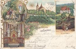 Litho Gruss Aus WRANAU (Böhmen) - Litho Mit Golddruck Gel.1903, Gute Erhaltung - Böhmen Und Mähren