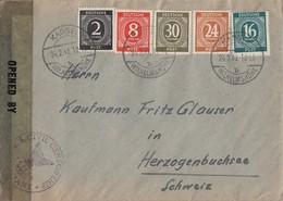 Gemeina. Brief Mif Minr.912,917,923,925,928 Kassel 24.2.47 Gel. In Schweiz Zensur - Gemeinschaftsausgaben