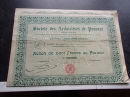 ARDOISIERES DE POUANCE (saint Michel Et Chanveaux , MAINE ET LOIRE) - Actions & Titres