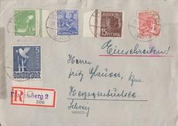 Gemeina. R-Brief Mif Minr.946 SR,948,953,955,962 UR Plettenberg 26.2.48 Gel. In Schweiz - Gemeinschaftsausgaben