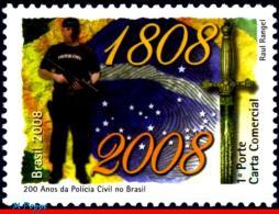 Ref. BR-3046 BRAZIL 2008 POLICE, CIVIL POLICE, 200 YEARS,, HISTORY, MNH 1V Sc# 3046 - Brésil