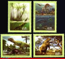 Ref. BR-3285-ST BRAZIL 2014 PREHISTORIC ANIMALS, DINOSAUR, DINO, FISH,, ALLIGATOR, SET MNH 4V Sc# 3285 - Brazil