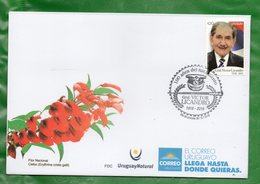 1628b URUGUAY 2018-FDC  100 Años Del Nac., Gral. Víctor Licandro-TT: Militares,Sombreros, Bastones ,Aniversarios - Uruguay