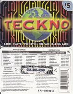CANADA - Teckno Prepaid Card $5, Used - Canada
