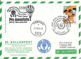 Austria UN Vienna Balloonflight Postcard Pro Juventute Salzburg Ebenau 23-10-1988 - Vienna – International Centre
