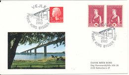 Denmark Cover RED CROSS Building Bridges Vejle Fjord Bridge 28-6-1980 With BRIDGE Cachet - Red Cross