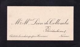 Château De SERINCHAMPS Par HAVERSIN Mr Et Mme De COLLOMBS Carte De Visite Avant 1900 - Cartoncini Da Visita