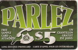 CANADA - Parlez Prepaid Card $5, Used - Canada