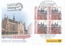 Germany Cover Spring Stampex International Stampexhibition London 25-2-2009 With Nice Cachet And A Block Of 4 - Expositions Philatéliques