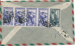 Italy Air Mail Cover Sent To Denmark 18-9-1951 All Stamps On The Backside Of The Cover - 1946-.. Republiek