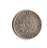 FRANCE . 1 FRANC SEMEUSE .1898 . ARGENT - Réf. N°160B - - H. 1 Franc