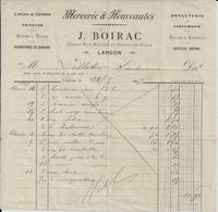 LANGON J BOIRAC MERCERIE LAINES COTONBONNETERIE ENCRE CIRAGES ARTICLES CREPINS ANNEE 1897 - Non Classés