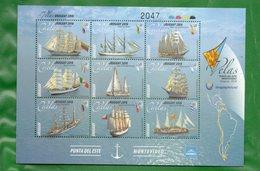 1630 Y 1630a URUGUAY-2018-Veleros De América -TT: Barcos, Veleros, Banderas - Ships