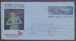 SRI LANKA Postal History - 12 Rupees Aeroplane Pictorial Aerogramme Stationery, Used 18.1.1999 - Sri Lanka (Ceylon) (1948-...)