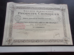 ALSACIENNE PRODUITS CHIMIQUES (obligation Hypothecaire 500 Francs) 1923 - Actions & Titres