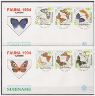 Surinam / Suriname 1994 FDC 176ab Vlinder Butterfly Schmetterling Papillon Triangle - Suriname