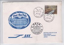 FIRST FLIGHT SAS 25TH ANNIV SAS POLARROUTE SCANDINAVIA TOKYO.-TBE-BLEUP - Airmail