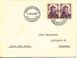 Denmark FDC 11-5-1944 Round Tower Stamp Overprinted With 5 öre RED CROSS In Pair - Red Cross