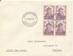 Denmark FDC 11-5-1944 Round Tower Stamp In Block Of 4 Overprinted With 5 öre RED CROSS - Red Cross