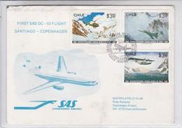 FIRST FLIGHT SAS DC 10 FLIGHT SANTIAGO-COPENHAGEN. CHILE.-TBE-BLEUP - Chile
