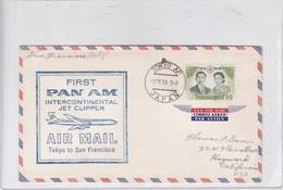 FIRST FLIGHT PANAM INTERCONTINENTAL JET CLIPPER TOKYO TO SAN FRANCISCO. JAPAN.-TBE-BLEUP - Airmail
