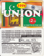 CANADA - Union 2006, MCI Prepaid Card $2.50(416-848-6996, White Reverse), Used - Canada