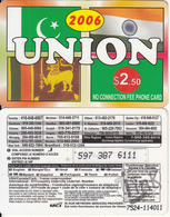 CANADA - Union 2006, MCI Prepaid Card $2.50(416-848-6887, White Reverse), Used - Canada