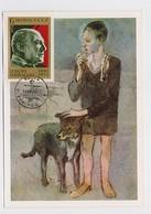CARTE MAXIMUM CM Card USSR RUSSIA Art Painting Spain France PICASSO Boy Dog - Cartoline Maximum