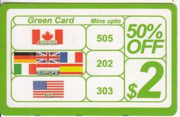 CANADA - Green Card, Jojo Telecom Prepaid Card $2, Used - Canada