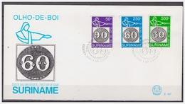 Surinam / Suriname 1993 FDC 167 Brasiliana Olho De Boi Stamp On Stamp - Timbres Sur Timbres