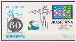 Surinam / Suriname 1993 FDC 167a Brasiliana Olho De Boi Stamp On Stamp S/S - Timbres Sur Timbres