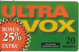 CANADA - Ultra Vox Prepaid Card 20 Min, 06/05, Used - Canada
