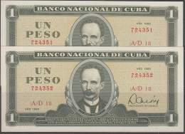 1985-BK-186 CUBA 1985 1$ UNC 2 CONSECUTIVE. JOSE MARTI. - Cuba