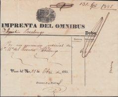 E5704 CUBA ESPAÑA SPAIN. COLONIAL ILLUSTRATED INVOICE 1865. IMPRENTA DEL OMNIBUS . - Documentos Históricos