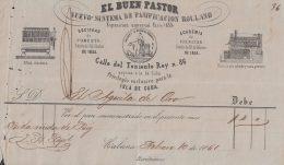 E5715 CUBA ESPAÑA SPAIN. COLONIAL ILLUSTRATED INVOICE 1861. BAKERY PANADERIA EL BUEN PASTOR. - Documentos Históricos