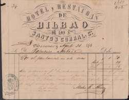 E5727 CUBA ESPAÑA SPAIN. COLONIAL ILLUSTRATED INVOICE 1868. HOTEL RESTAURANT BILBAO . - Documentos Históricos