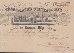 E5741 CUBA ESPAÑA SPAIN. COLONIAL ILLUSTRATED INVOICE 1869. MEDICINE HOSPITAL QUINTA DEL REY. CASA DE SALUD . - Historical Documents