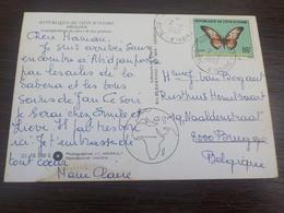 CPSM  AFRIQUE COTE D IVOIRE ABIDJAN VUE AERIENNE DU PORT TIMBREE 1980 / NICE STAMPS PAPILLON - Ivory Coast