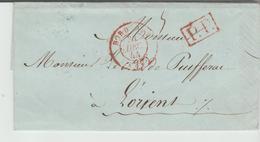 """GIRONDE: """" BORDEAUX CàD Type 15 Rouge """" De 1844 En PP / LAC Pour Lorient TB - Postmark Collection (Covers)"""