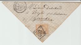 """GIRONDE: """" BORDEAUX GC 532 + CàD Type 17 / LSC De 1872 Pour Bègles B - Postmark Collection (Covers)"""
