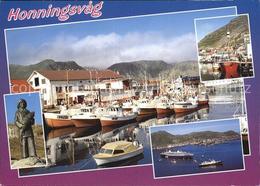 72576504 Honningsvag Denkmal Statue Hafen Fischkutter Passagierschiff Norwegen - Norvège