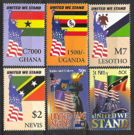 Afrique Et Océanie - Lot De 6 Timbres Neufs ** ,MNH, Comémorant Le 11 Septembre - Drapeau, Flag USA, Liberté, Liberty - Militaria