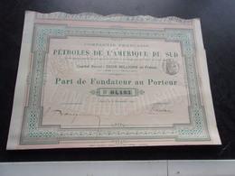 Compagnie Française Des PETROLES DE L'AMERIQUE DU SUD (fondateur) 1895 - Shareholdings