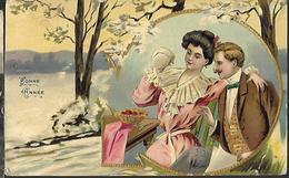 Bonne Année Sur Carte Gaufrée  CPA 1907 - Nouvel An